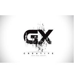 Gx g x grunge brush letter logo design in black vector