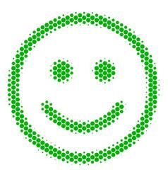 Halftone dot glad smiley icon vector