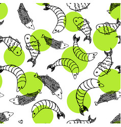 hand drawn sketch style fish pattern vector image