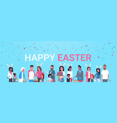 happy easter poster with group of people family vector image