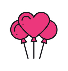 Heart shaped balloon icon air balloon sign and vector