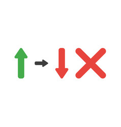 icon concept of arrow moving up and down with x vector image