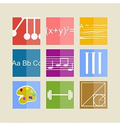 Icons for school subjects vector