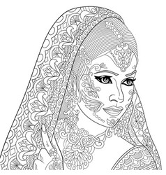 indian or turkish woman adult coloring page vector image