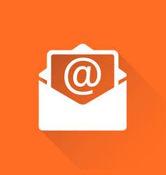 mail envelope icon isolated on orange background vector image