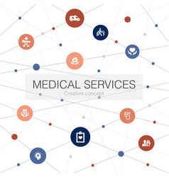 medical services trendy web template with simple vector image