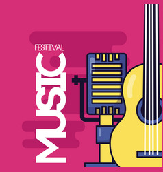microphone and guitar music festival vector image