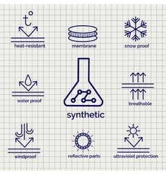 Modern syntetic fabric feature sketch icons vector