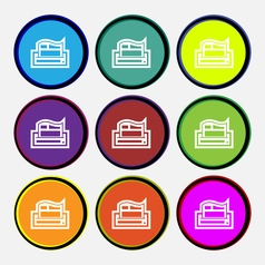 Newspaper icon sign Nine multi colored round vector image