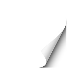 page curl lower right corner white sheet vector image