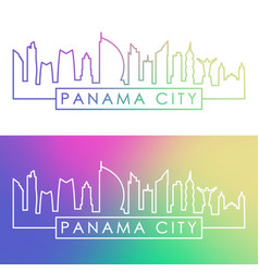 panama city skyline colorful linear style vector image