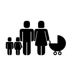 parents with son daughter and baby pram pictogram vector image