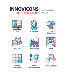 Photo processing - line design icons set vector