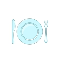 Place setting with empty dish fork and knife icon vector image