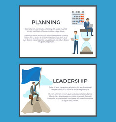 Planning and leadership set of business posters vector