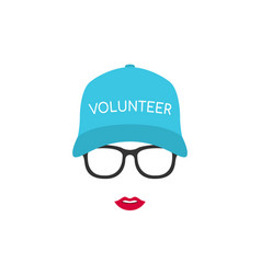 portrait of a girl volunteer in glasses and cap vector image