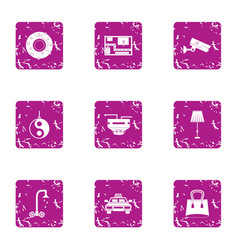 Professional supervision icons set grunge style vector
