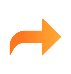 Right orange curved arrow flat design long shadow vector