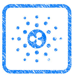 Ripple emission rays framed stamp vector