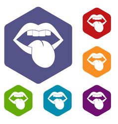 Rock emblem icons set hexagon vector