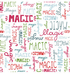 seamless pattern doodle magic words on white vector image