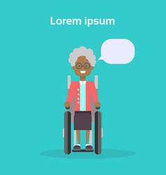 senior woman on wheel chair happy african american vector image