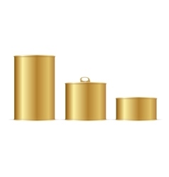 Set of Gold Tin Cans vector image
