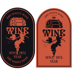 Set of labels for wine with barrel and grapes vector