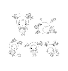 Set with a cheerful insect forest fairy cute elf vector