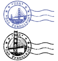 Shabby stamp with cityscape of San Francisco vector
