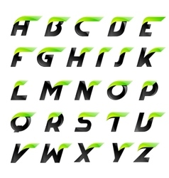 Speed alphabet black and green letters creative vector