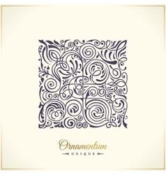 Square calligraphic royal emblem floral vector