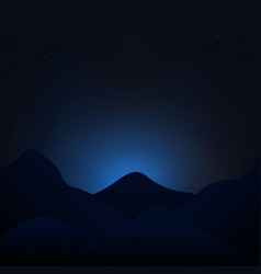 starry night sky with mountains landscape vector image