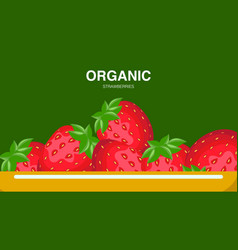 strawberries in plate banner with text vector image