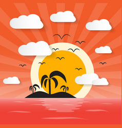 Sunset Ocean with Island and Palm vector image