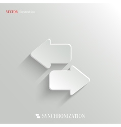 Synchronization icon - white app button vector