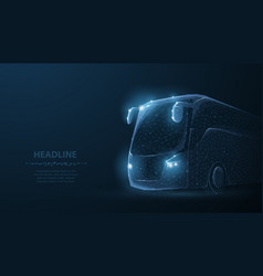 tourist bus polygonal wireframe mesh on blue vector image