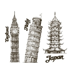 Travel Hand drawn sketch England Italy Japan vector