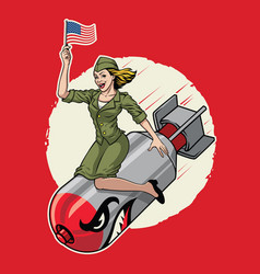 Usa pin up girl ride a nuclear bomb vector