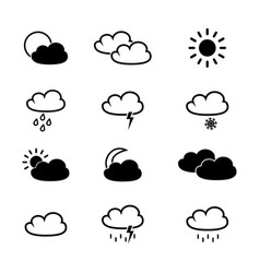 weather icons black vector image