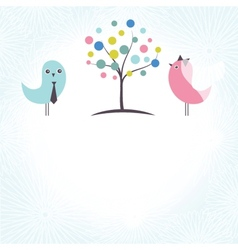 Wedding invitation with two cute swan birds in vector