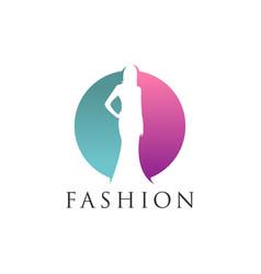 woman silhouette negative space fashion logo desig vector image