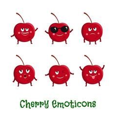 cherry smiles cute cartoon emoticons emoji icons vector image vector image