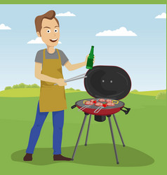 handsome man cooking barbecue grill outdoors vector image