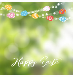 happy easter greeting card invitation string of vector image vector image