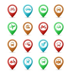 Map pins with Transport icons vector image