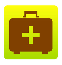 medical first aid box sign brown icon at vector image
