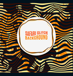 orange striped safari glitch background vector image