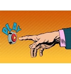 Play button hand press vector image vector image