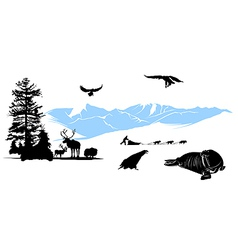 reservation with winter animals on the snow mounta vector image